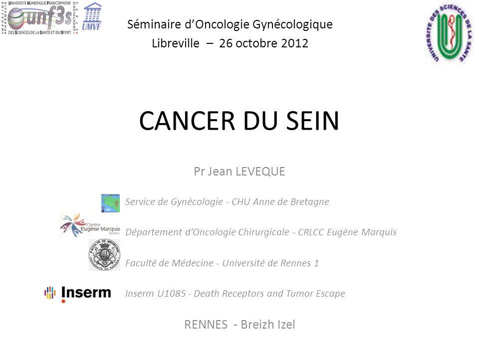 CANCER DU SEIN Séminaire dOncologie Gynécologique Libreville – 26 octobre 2012 Pr Jean LEVEQUE Service de Gynécologie - CHU Anne de Bretagne Départeme