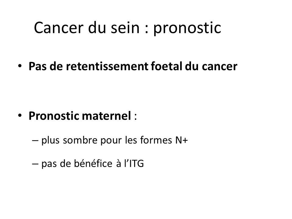 Cancer du sein : pronostic Pas de retentissement foetal du cancer Pronostic maternel : – plus sombre pour les formes N+ – pas de bénéfice à lITG