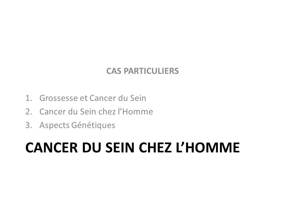 CANCER DU SEIN CHEZ LHOMME CAS PARTICULIERS 1.Grossesse et Cancer du Sein 2.Cancer du Sein chez lHomme 3.Aspects Génétiques