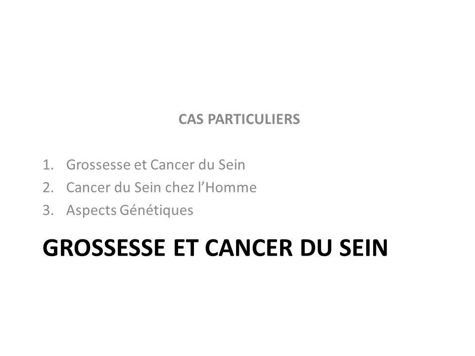 GROSSESSE ET CANCER DU SEIN CAS PARTICULIERS 1.Grossesse et Cancer du Sein 2.Cancer du Sein chez lHomme 3.Aspects Génétiques
