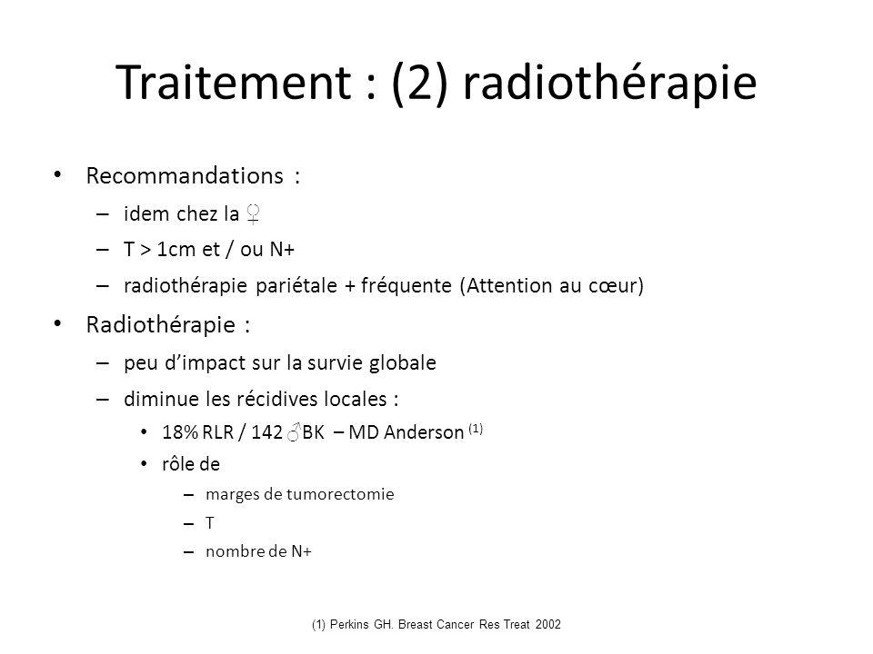 (1) Perkins GH. Breast Cancer Res Treat 2002 Traitement : (2) radiothérapie Recommandations : – idem chez la – T > 1cm et / ou N+ – radiothérapie pari