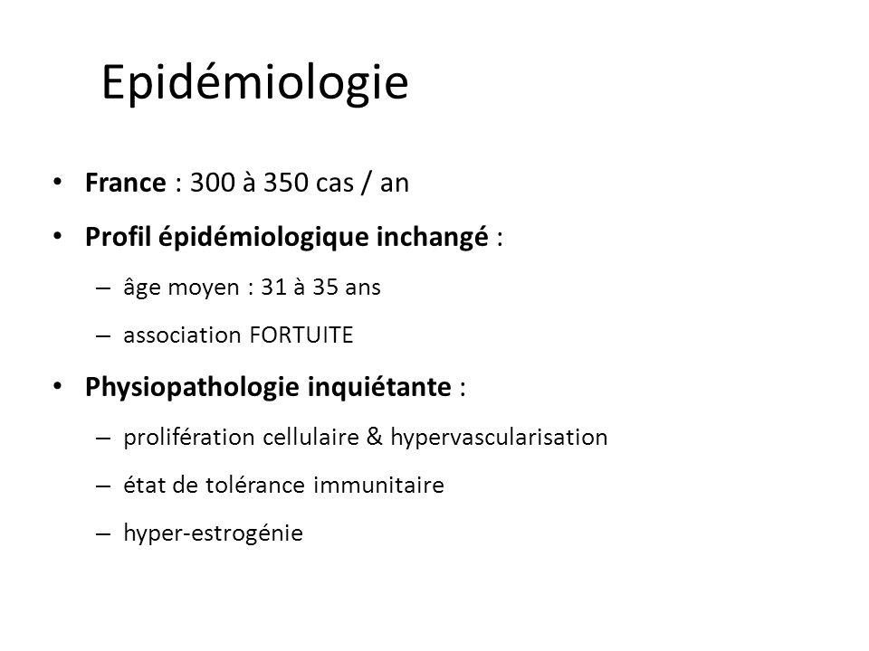 Epidémiologie France : 300 à 350 cas / an Profil épidémiologique inchangé : – âge moyen : 31 à 35 ans – association FORTUITE Physiopathologie inquiéta