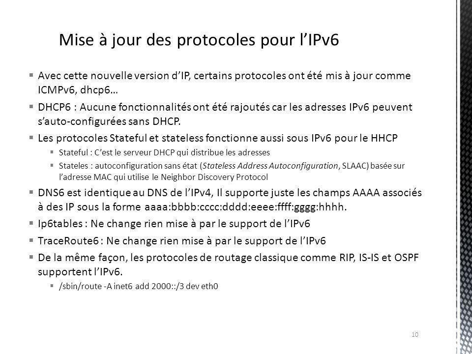 Avec cette nouvelle version dIP, certains protocoles ont été mis à jour comme ICMPv6, dhcp6… DHCP6 : Aucune fonctionnalités ont été rajoutés car les a
