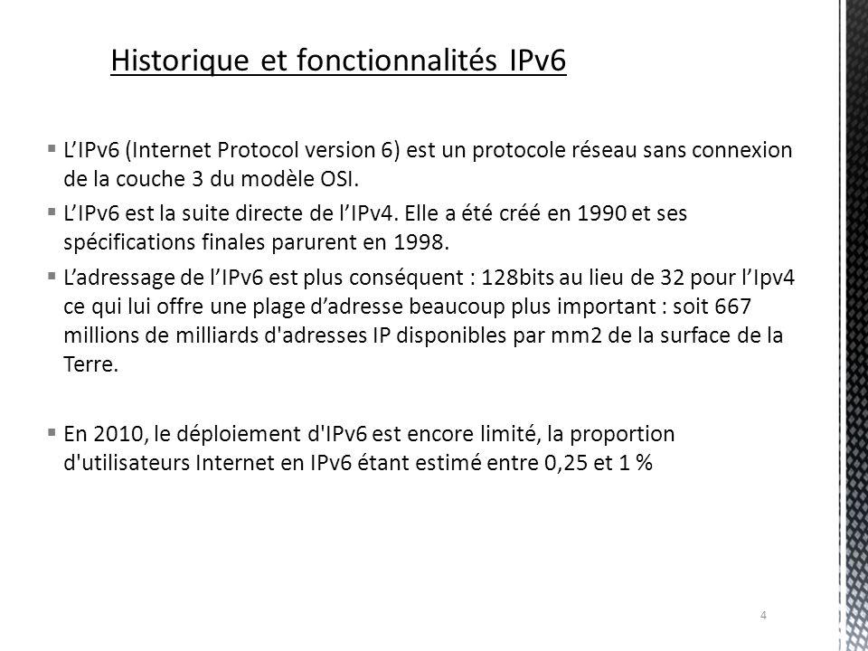 Comparaison IPv4/IPv6 En IPv4, le NAT était obligatoire par manque dadresses disponibles : avec lIPv6 la translation dadresse nest plus nécessaire car il y a un nombre dadresse publique quasiment « illimité » La taille de l en-tête est fixe, le champ IHL (IP Header Length) est donc inutile.