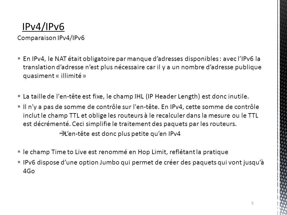 Comparaison IPv4/IPv6 En IPv4, le NAT était obligatoire par manque dadresses disponibles : avec lIPv6 la translation dadresse nest plus nécessaire car