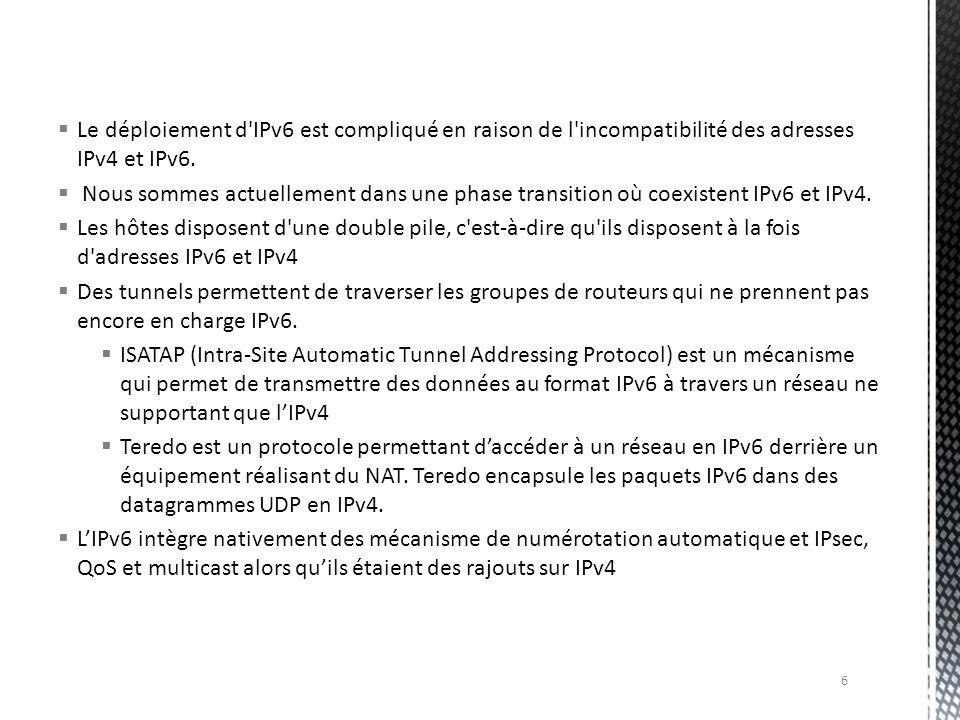 Le déploiement d'IPv6 est compliqué en raison de l'incompatibilité des adresses IPv4 et IPv6. Nous sommes actuellement dans une phase transition où co