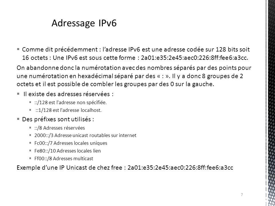 Comme dit précédemment : ladresse IPv6 est une adresse codée sur 128 bits soit 16 octets : Une IPv6 est sous cette forme : 2a01:e35:2e45:aec0:226:8ff: