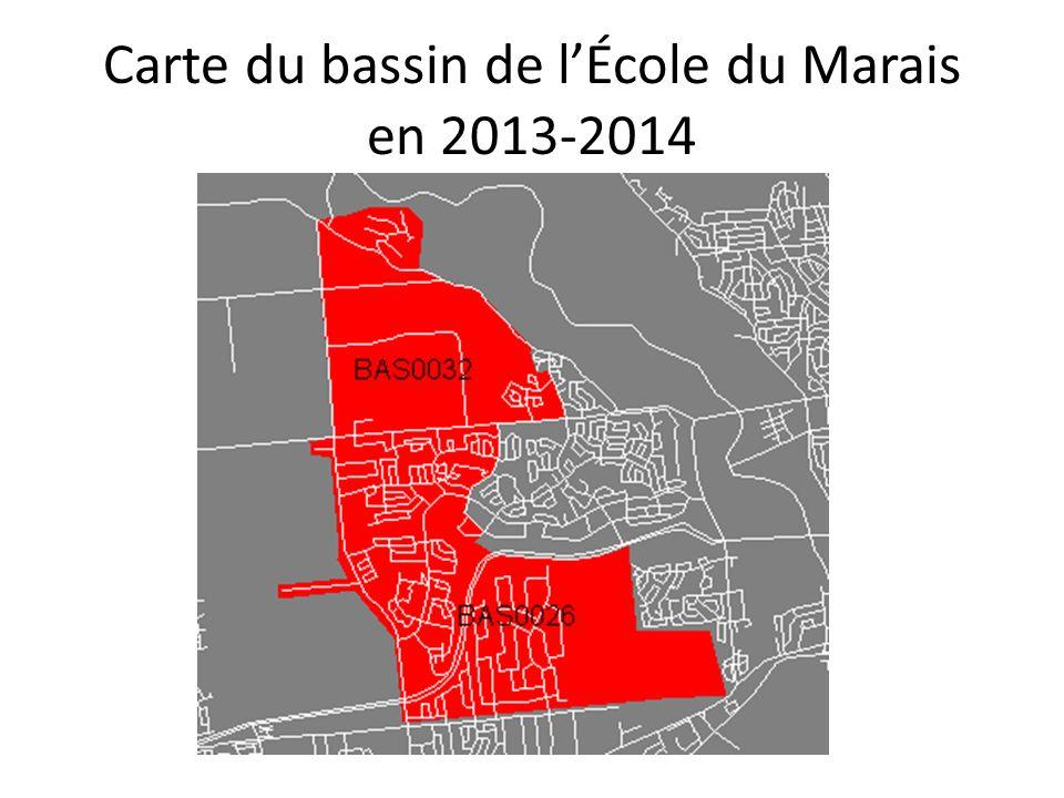 Carte du bassin de lÉcole du Marais en 2013-2014