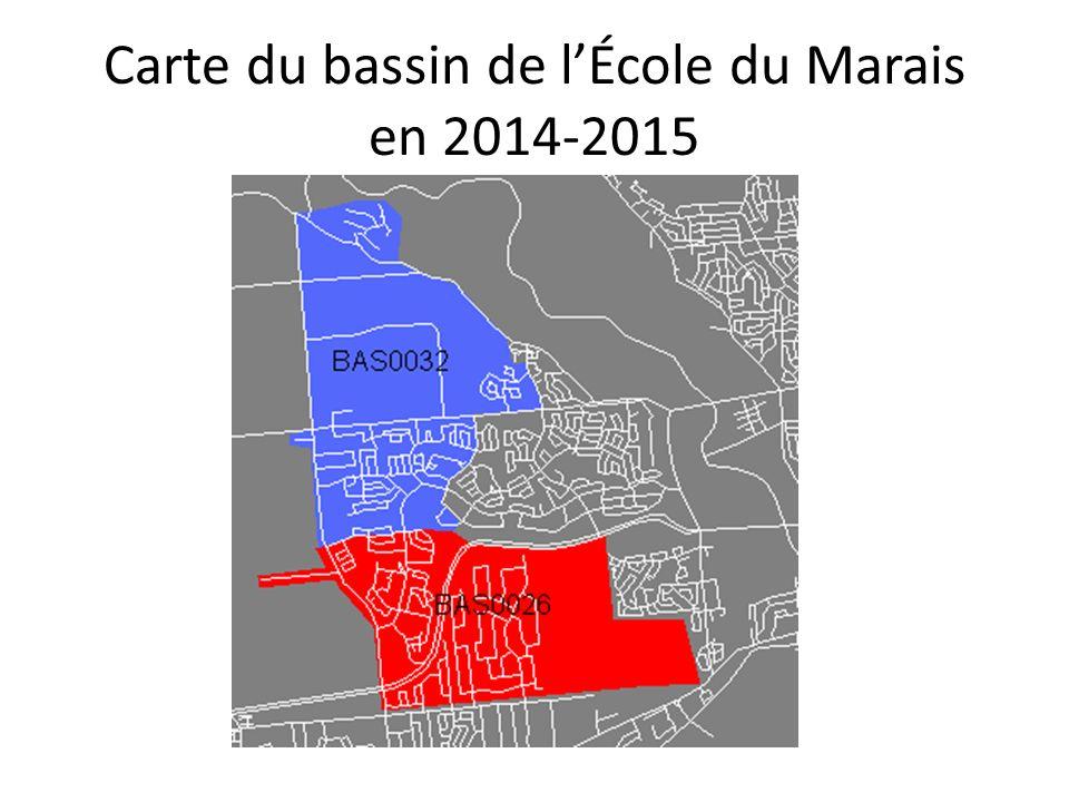 Carte du bassin de lÉcole du Marais en 2014-2015