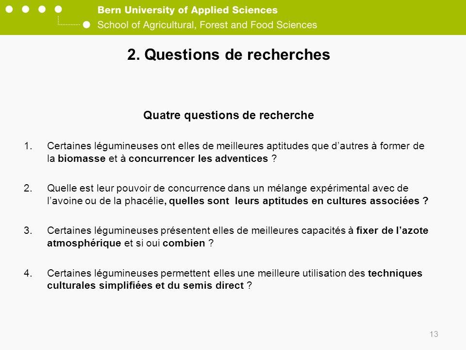 2. Questions de recherches Quatre questions de recherche 1.Certaines légumineuses ont elles de meilleures aptitudes que dautres à former de la biomass