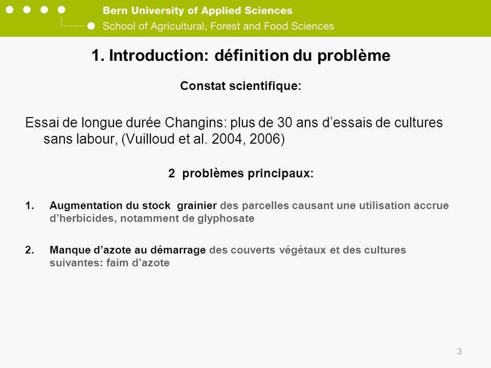 1. Introduction: définition du problème Constat scientifique: Essai de longue durée Changins: plus de 30 ans dessais de cultures sans labour, (Vuillou