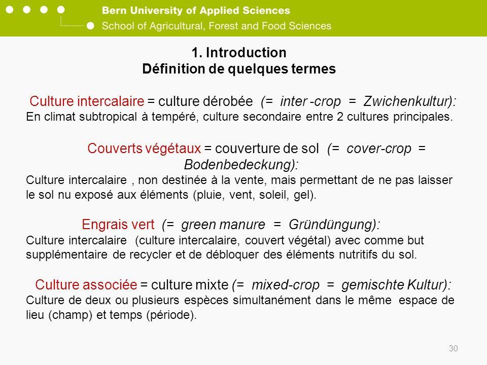 1. Introduction Définition de quelques termes 30 Culture intercalaire = culture dérobée (= inter -crop = Zwichenkultur): En climat subtropical à tempé