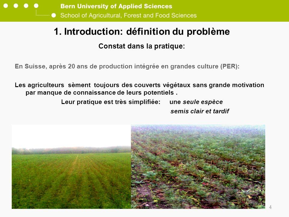 1. Introduction: définition du problème Constat dans la pratique: En Suisse, après 20 ans de production intégrée en grandes culture (PER): Les agricul