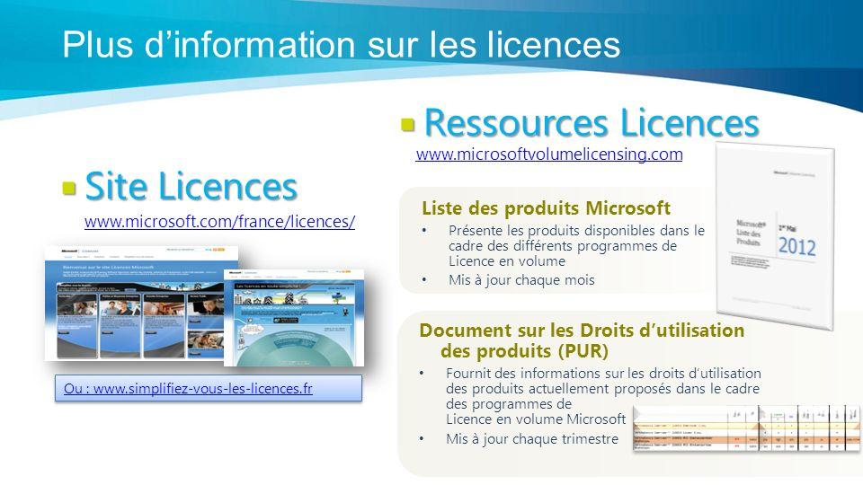 Liste des produits Microsoft Présente les produits disponibles dans le cadre des différents programmes de Licence en volume Mis à jour chaque mois Document sur les Droits dutilisation des produits (PUR) Fournit des informations sur les droits dutilisation des produits actuellement proposés dans le cadre des programmes de Licence en volume Microsoft Mis à jour chaque trimestre Ressources Licences Ressources Licences www.microsoftvolumelicensing.com Ou : www.simplifiez-vous-les-licences.fr Site Licences Site Licences www.microsoft.com/france/licences/