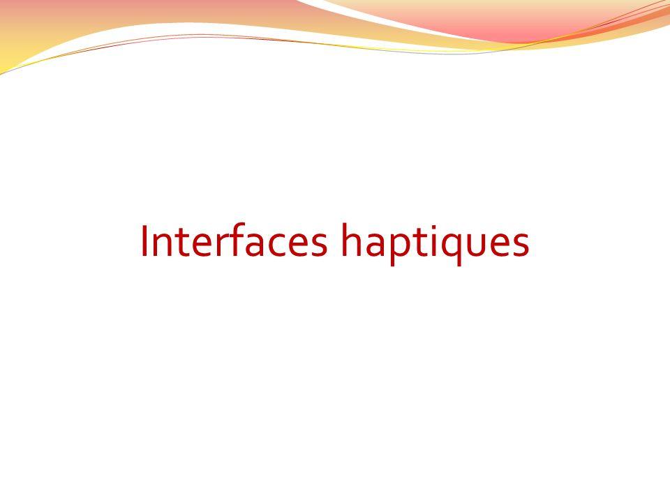 Haptique = Sens du toucher Le sens du toucher est le seul qui est bidirectionnel.