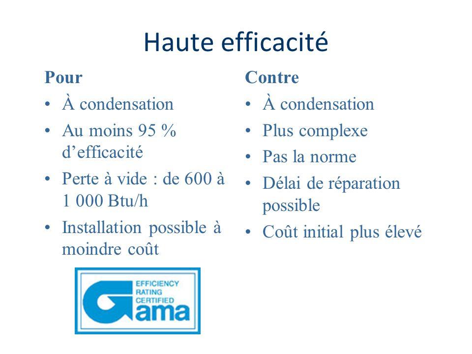Haute efficacité Pour À condensation Au moins 95 % defficacité Perte à vide : de 600 à 1 000 Btu/h Installation possible à moindre coût Contre À conde