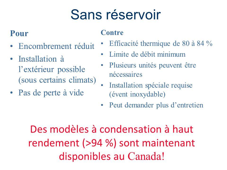 Sans réservoir Pour Encombrement réduit Installation à lextérieur possible (sous certains climats) Pas de perte à vide Contre Efficacité thermique de