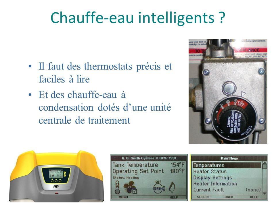 Chauffe-eau intelligents ? Il faut des thermostats précis et faciles à lire Et des chauffe-eau à condensation dotés dune unité centrale de traitement