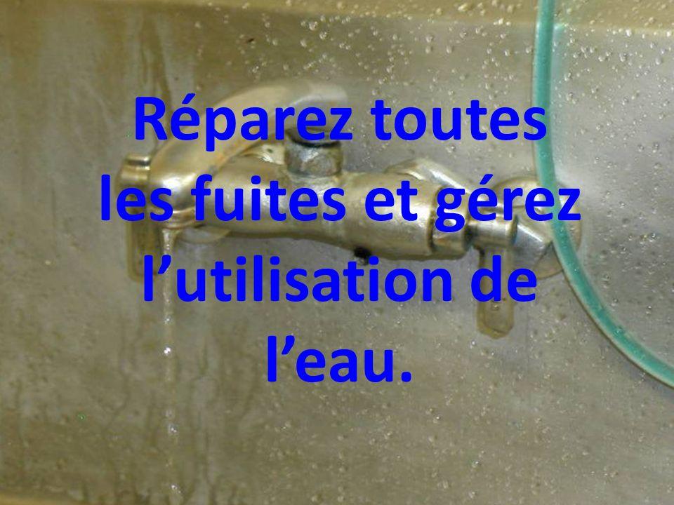 Réparez toutes les fuites et gérez lutilisation de leau.