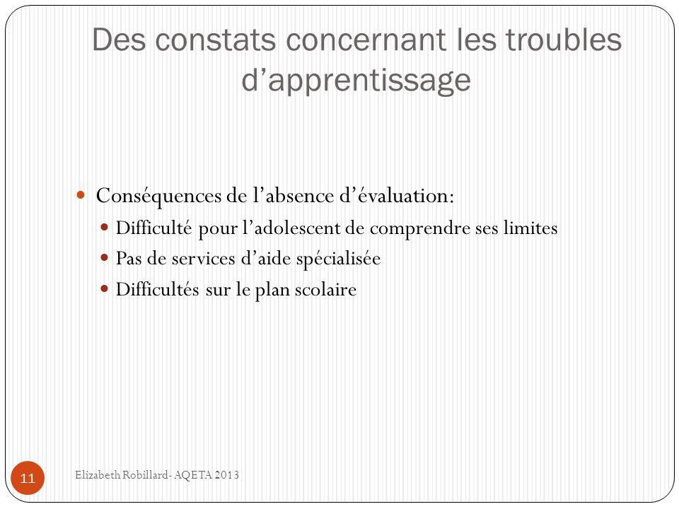 Des constats concernant les troubles dapprentissage 11 Conséquences de labsence dévaluation: Difficulté pour ladolescent de comprendre ses limites Pas