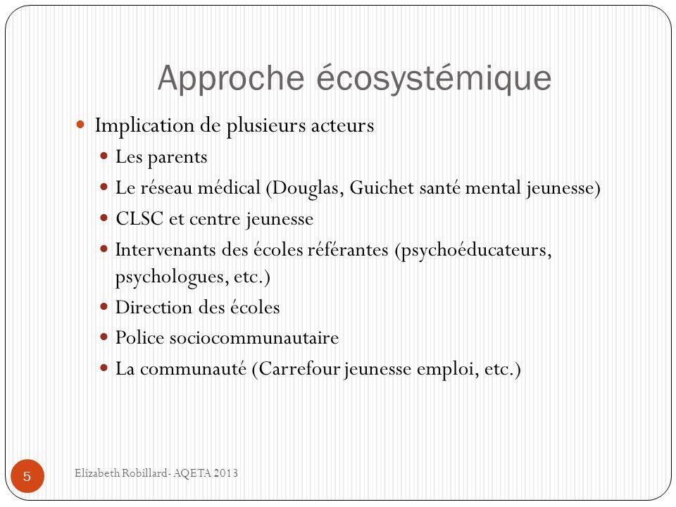 Approche écosystémique 5 Implication de plusieurs acteurs Les parents Le réseau médical (Douglas, Guichet santé mental jeunesse) CLSC et centre jeunes