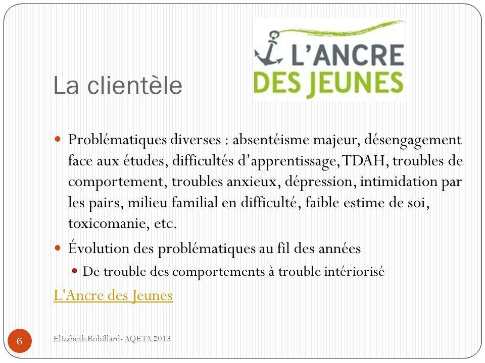 La clientèle 6 Problématiques diverses : absentéisme majeur, désengagement face aux études, difficultés dapprentissage, TDAH, troubles de comportement