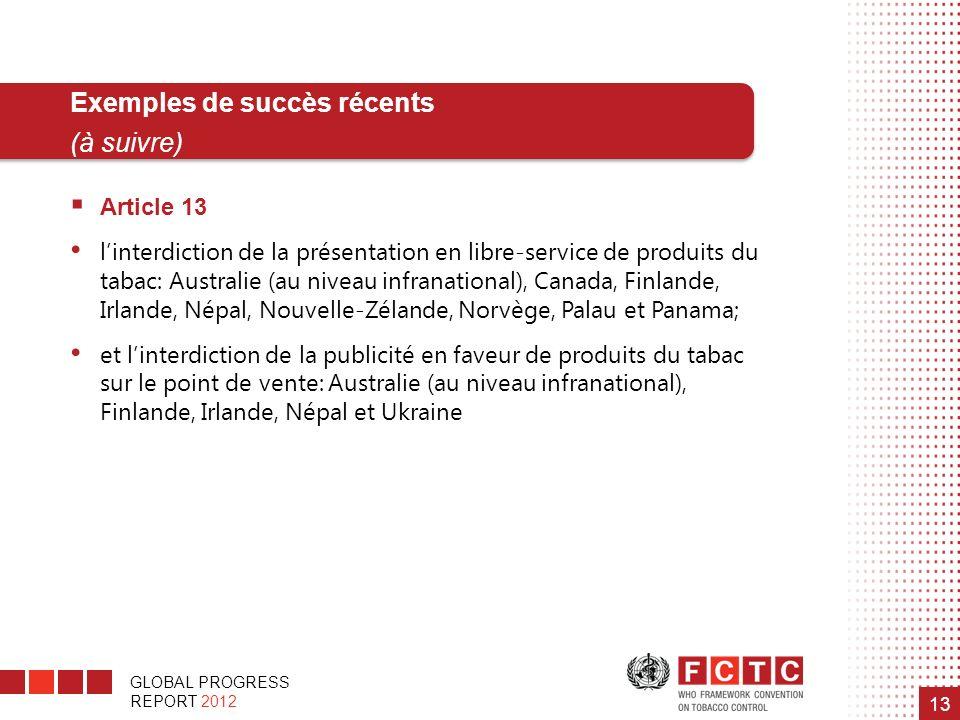 GLOBAL PROGRESS REPORT 2012 13 Article 13 linterdiction de la présentation en libre-service de produits du tabac: Australie (au niveau infranational),