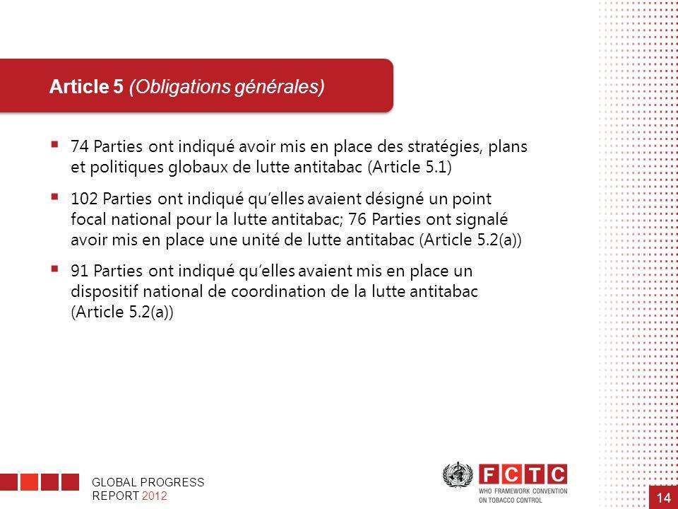 GLOBAL PROGRESS REPORT 2012 14 74 Parties ont indiqué avoir mis en place des stratégies, plans et politiques globaux de lutte antitabac (Article 5.1)