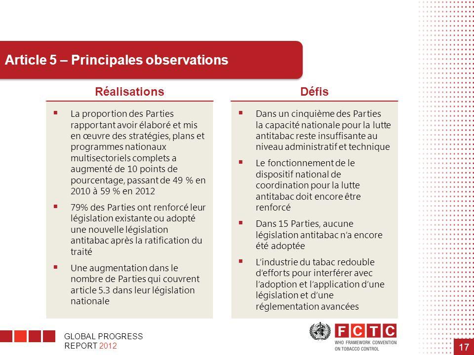 GLOBAL PROGRESS REPORT 2012 17 Article 5 – Principales observations RéalisationsDéfis La proportion des Parties rapportant avoir élaboré et mis en œuv