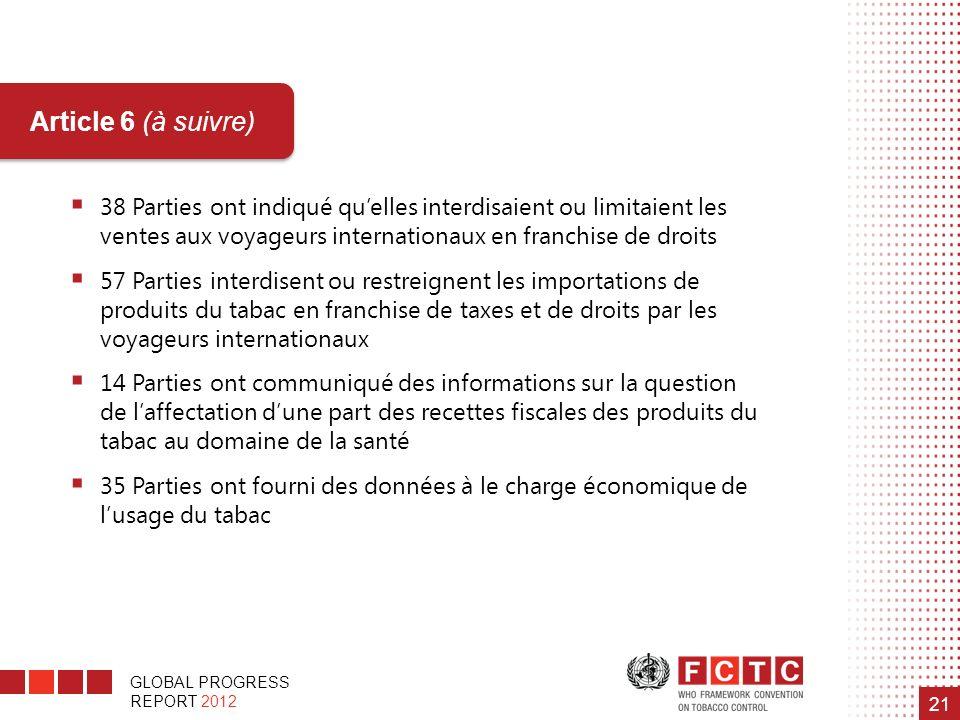 GLOBAL PROGRESS REPORT 2012 21 Article 6 (à suivre) 38 Parties ont indiqué quelles interdisaient ou limitaient les ventes aux voyageurs internationaux