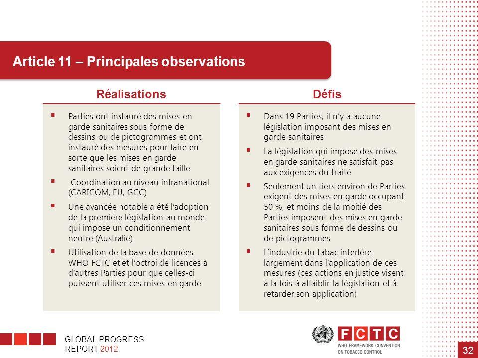 GLOBAL PROGRESS REPORT 2012 32 Article 11 – Principales observations RéalisationsDéfis Parties ont instauré des mises en garde sanitaires sous forme d