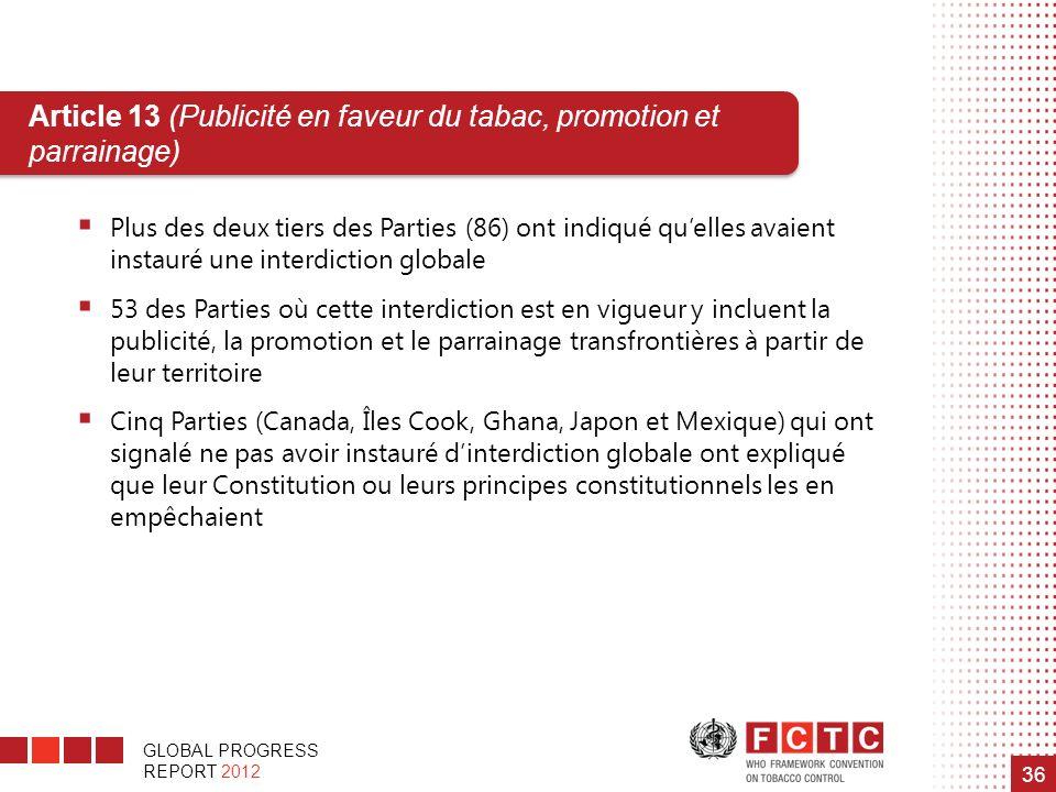 GLOBAL PROGRESS REPORT 2012 36 Article 13 (Publicité en faveur du tabac, promotion et parrainage) Plus des deux tiers des Parties (86) ont indiqué que