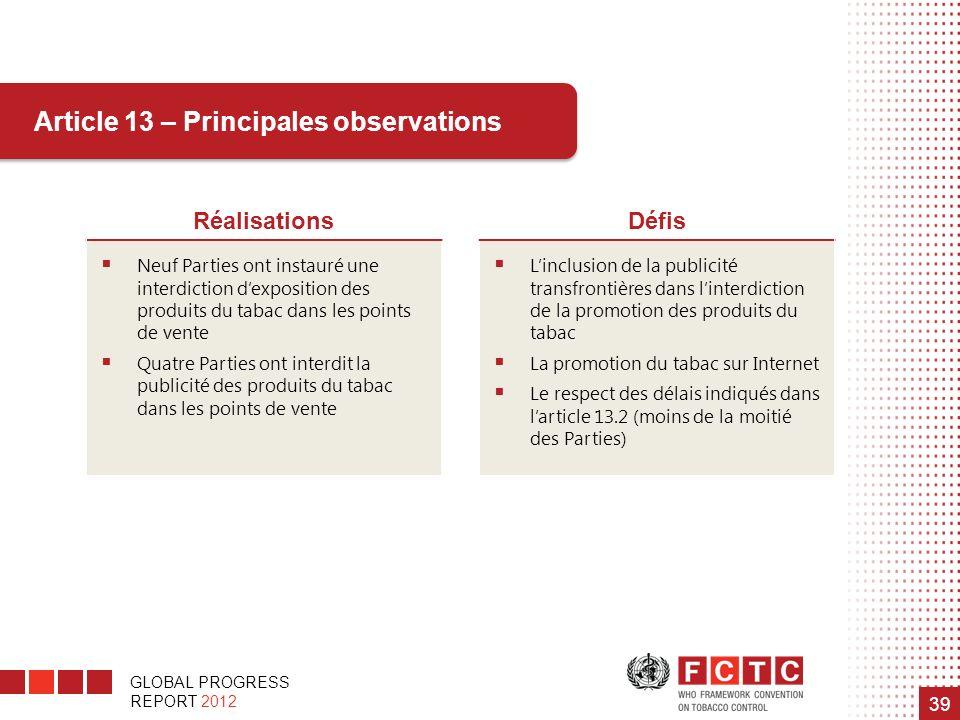 GLOBAL PROGRESS REPORT 2012 39 Article 13 – Principales observations RéalisationsDéfis Neuf Parties ont instauré une interdiction dexposition des prod