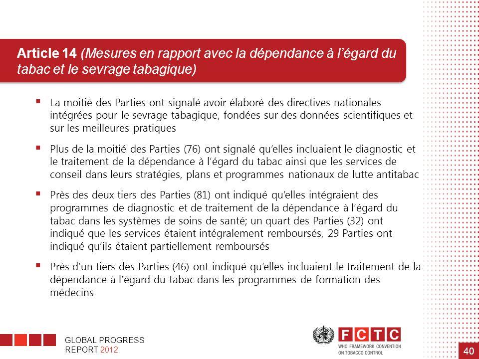 GLOBAL PROGRESS REPORT 2012 40 Article 14 (Mesures en rapport avec la dépendance à légard du tabac et le sevrage tabagique) La moitié des Parties ont