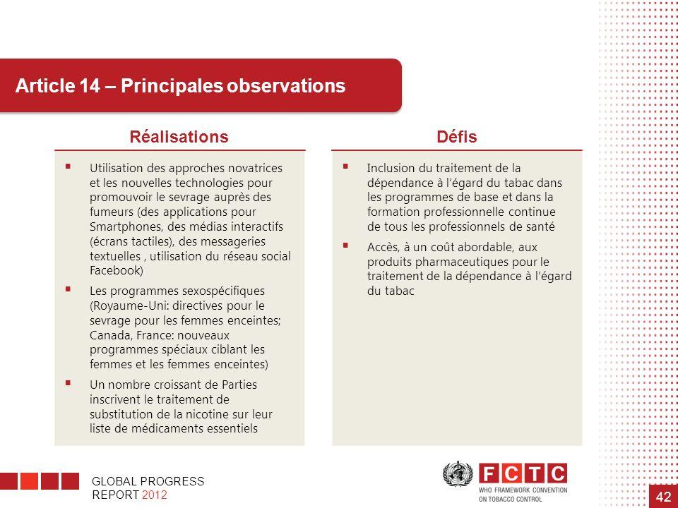 GLOBAL PROGRESS REPORT 2012 42 Article 14 – Principales observations RéalisationsDéfis Utilisation des approches novatrices et les nouvelles technolog