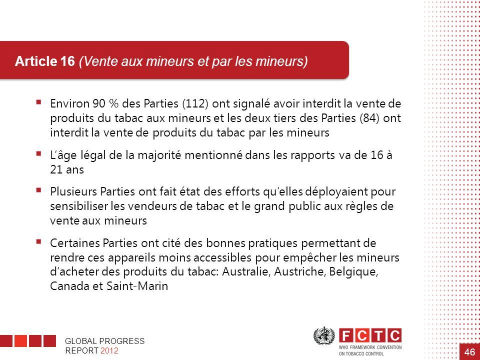 GLOBAL PROGRESS REPORT 2012 46 Article 16 (Vente aux mineurs et par les mineurs) Environ 90 % des Parties (112) ont signalé avoir interdit la vente de