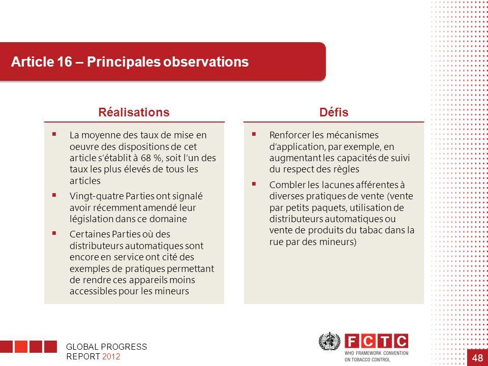 GLOBAL PROGRESS REPORT 2012 48 Article 16 – Principales observations RéalisationsDéfis La moyenne des taux de mise en oeuvre des dispositions de cet a