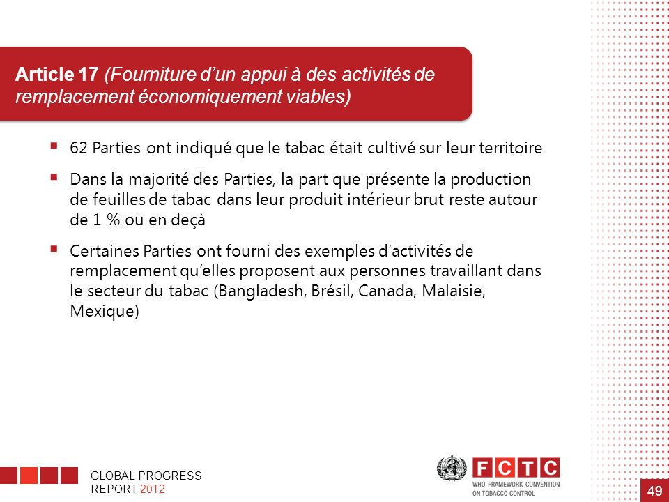 GLOBAL PROGRESS REPORT 2012 49 Article 17 (Fourniture dun appui à des activités de remplacement économiquement viables) 62 Parties ont indiqué que le