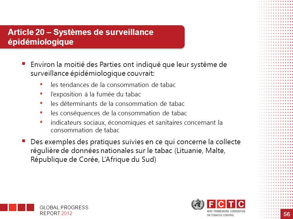GLOBAL PROGRESS REPORT 2012 56 Environ la moitié des Parties ont indiqué que leur système de surveillance épidémiologique couvrait: les tendances de l