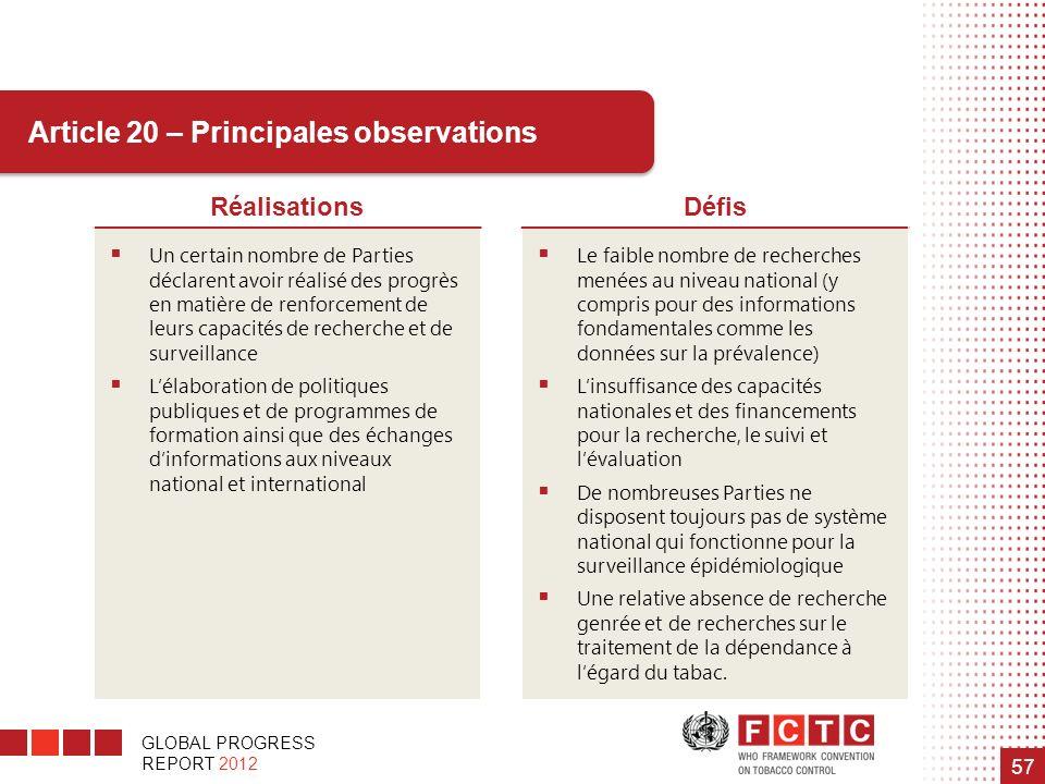 GLOBAL PROGRESS REPORT 2012 57 RéalisationsDéfis Un certain nombre de Parties déclarent avoir réalisé des progrès en matière de renforcement de leurs