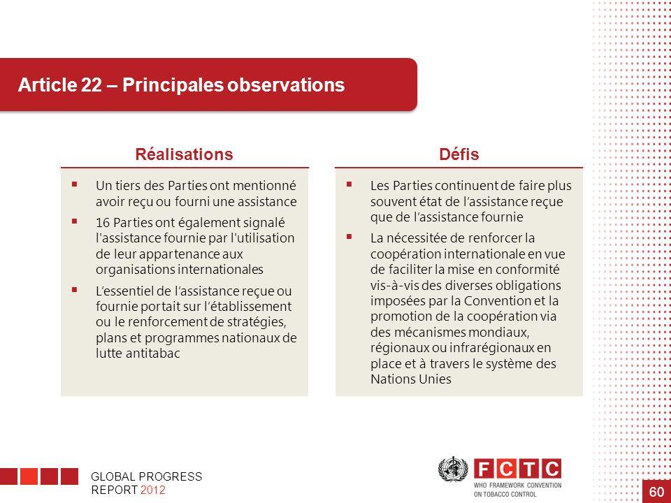 GLOBAL PROGRESS REPORT 2012 60 RéalisationsDéfis Un tiers des Parties ont mentionné avoir reçu ou fourni une assistance 16 Parties ont également signa