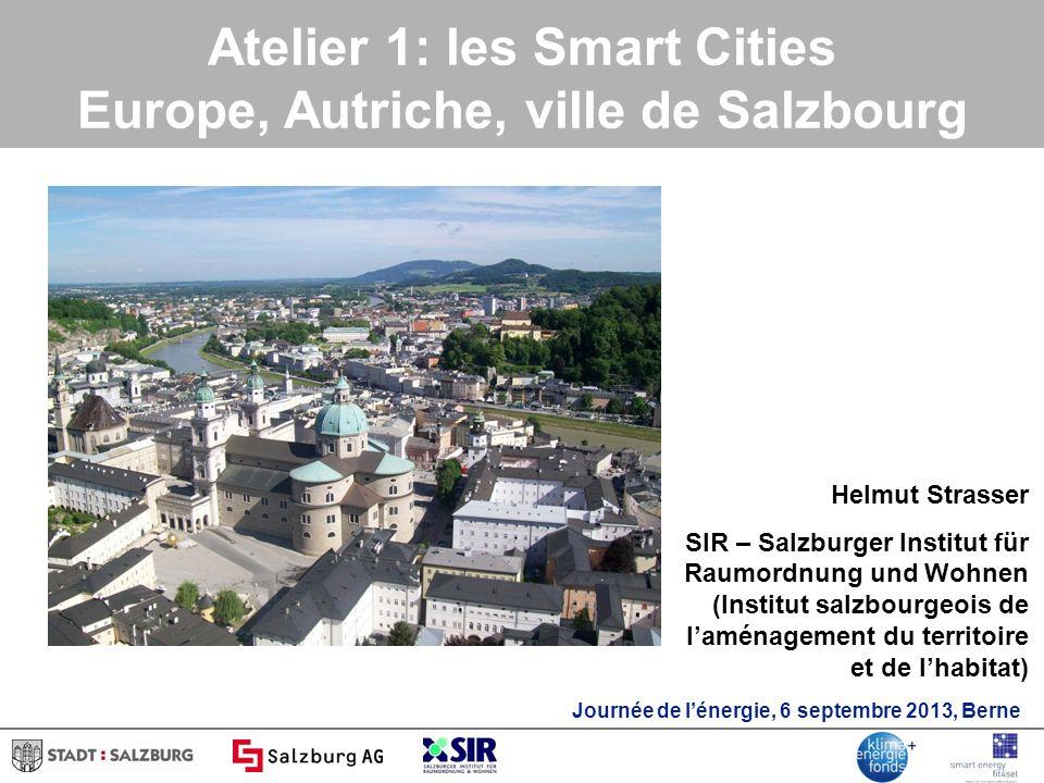 Atelier 1: les Smart Cities Europe, Autriche, ville de Salzbourg Helmut Strasser SIR – Salzburger Institut für Raumordnung und Wohnen (Institut salzbourgeois de laménagement du territoire et de lhabitat) Journée de lénergie, 6 septembre 2013, Berne