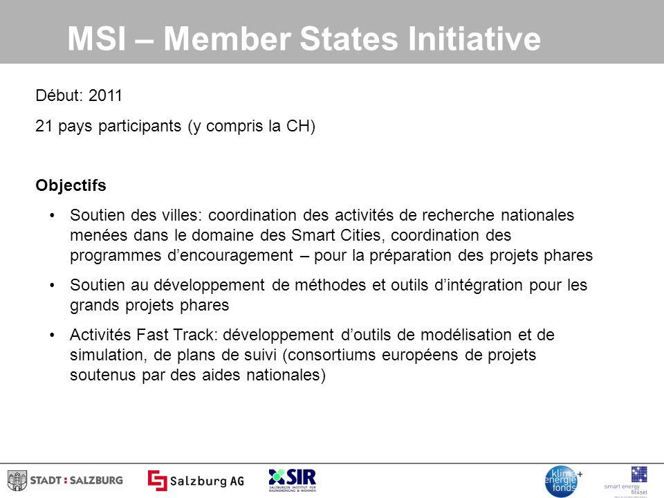 Début: 2011 21 pays participants (y compris la CH) Objectifs Soutien des villes: coordination des activités de recherche nationales menées dans le dom