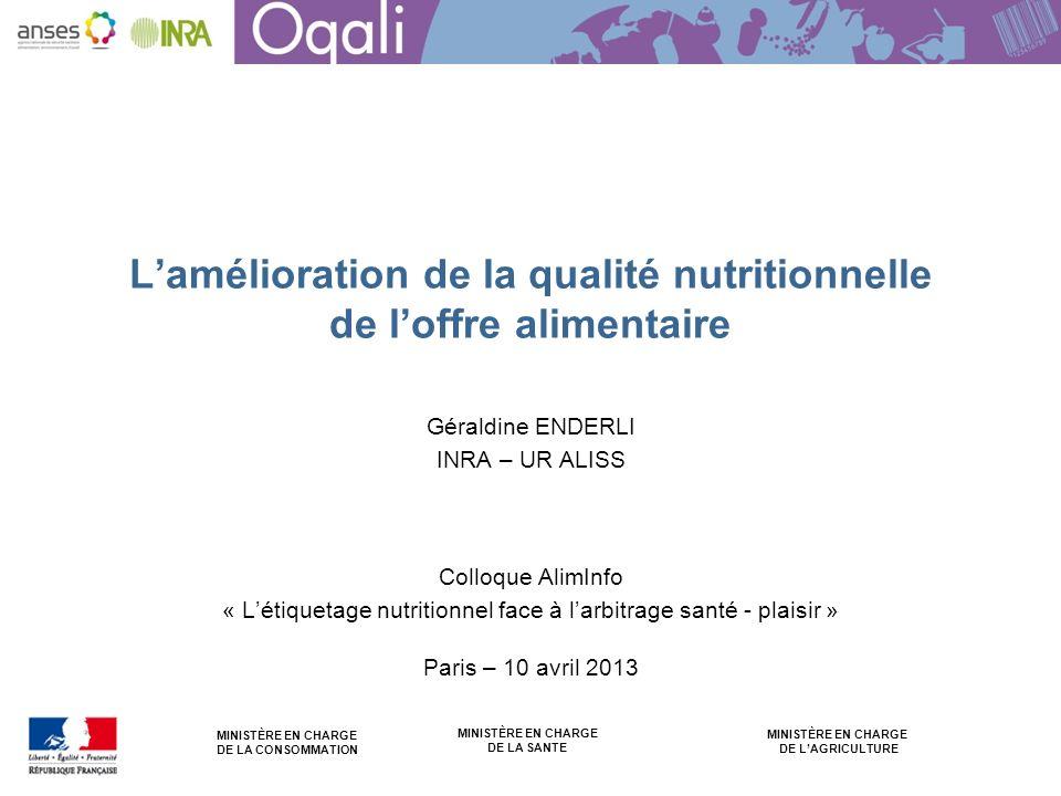 MINISTÈRE EN CHARGE DE LA CONSOMMATION MINISTÈRE EN CHARGE DE LAGRICULTURE MINISTÈRE EN CHARGE DE LA SANTE Lamélioration de la qualité nutritionnelle