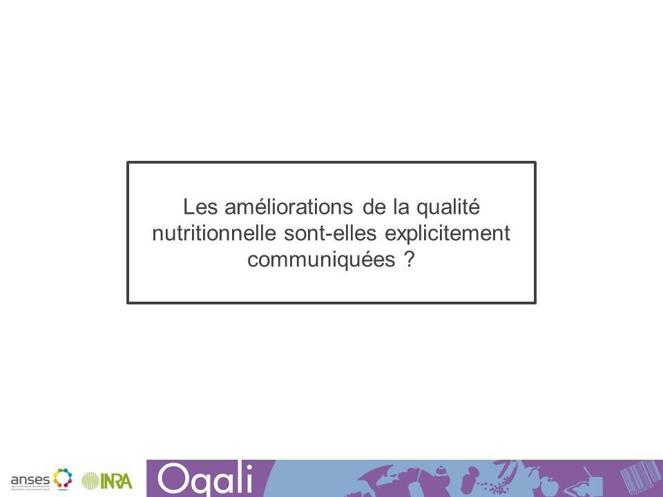 Les améliorations de la qualité nutritionnelle sont-elles explicitement communiquées ?