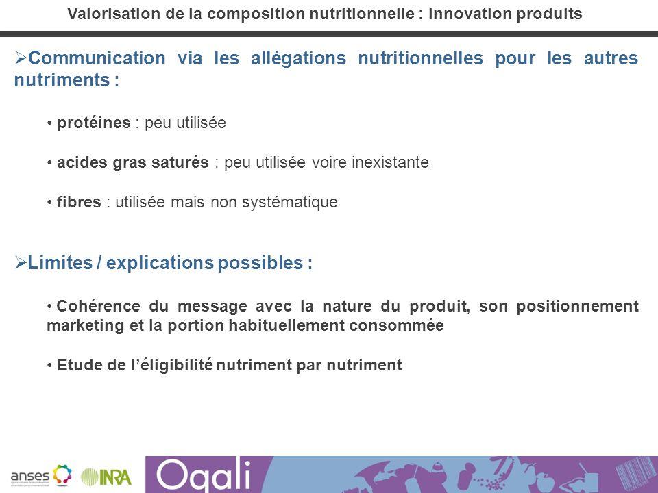 Communication via les allégations nutritionnelles pour les autres nutriments : protéines : peu utilisée acides gras saturés : peu utilisée voire inexi