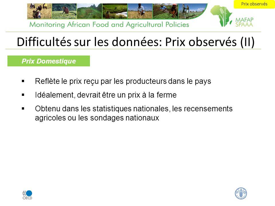 Difficultés sur les données: Prix observés (II) Prix Domestique Reflète le prix reçu par les producteurs dans le pays Idéalement, devrait être un prix
