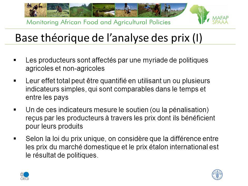 Les producteurs sont affectés par une myriade de politiques agricoles et non-agricoles Leur effet total peut être quantifié en utilisant un ou plusieu