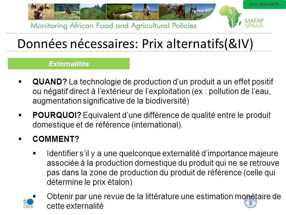 Données nécessaires: Prix alternatifs(&IV) Externalités QUAND? La technologie de production dun produit a un effet positif ou négatif direct à lextéri