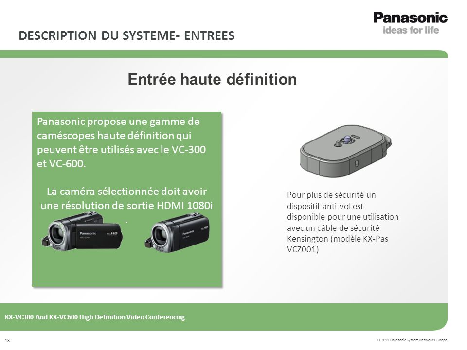 © 2011 Panasonic System Networks Europe. KX-VC300 And KX-VC600 High Definition Video Conferencing 18 DESCRIPTION DU SYSTEME- ENTREES Entrée haute défi
